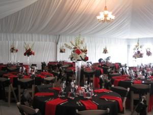 tent interior black red