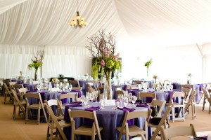 Tent interior with tables