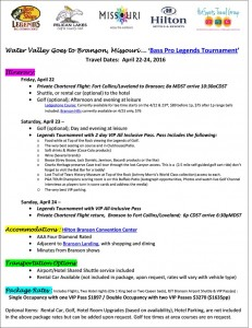 Branson Legends Tournament Water Valley Getaway April 22-24, 2016